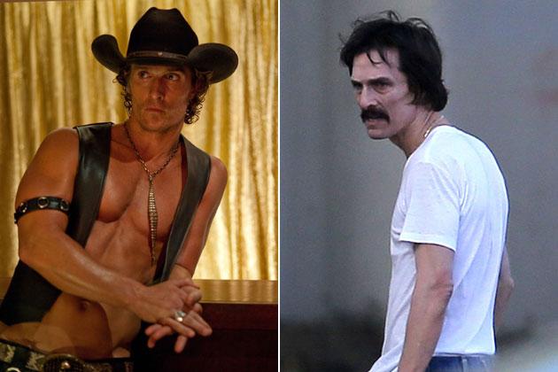 Matthew McConaughey từ một gã tài tử đẹp trai cơ bắp phải giảm hơn 23kg để nhập vai một gã nghiện gầy ốm đói cách hoàn hảo.