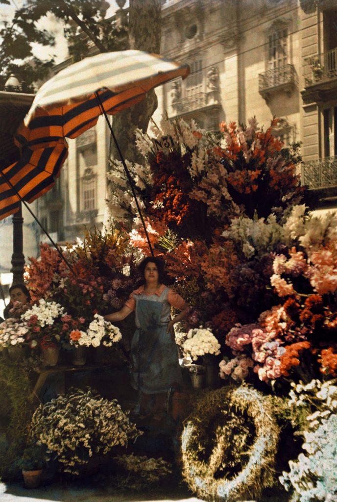 Cửa hàng hoa trên đường La Rambla, Barcelona, Tây Ban Nha, 1929.
