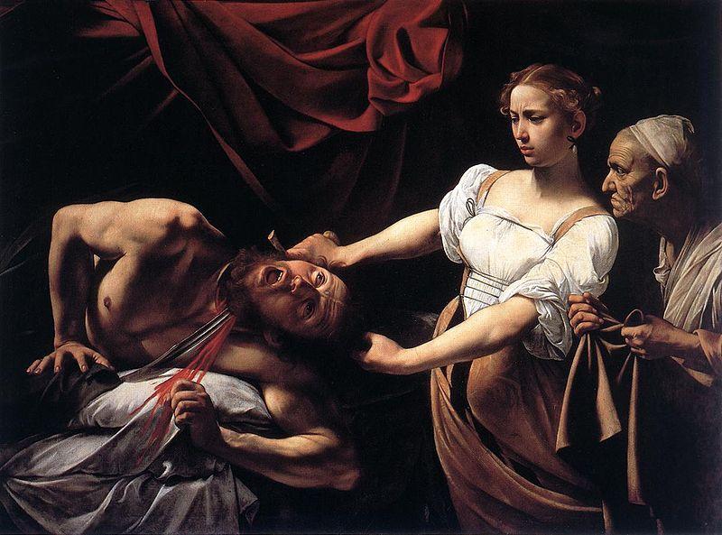 """Bức """"Judith cắt đầu Holofernes"""" (Judith beheading Holofernes, sơn dầu, 145x195 cm) được Caravaggio vẽ năm 1598."""