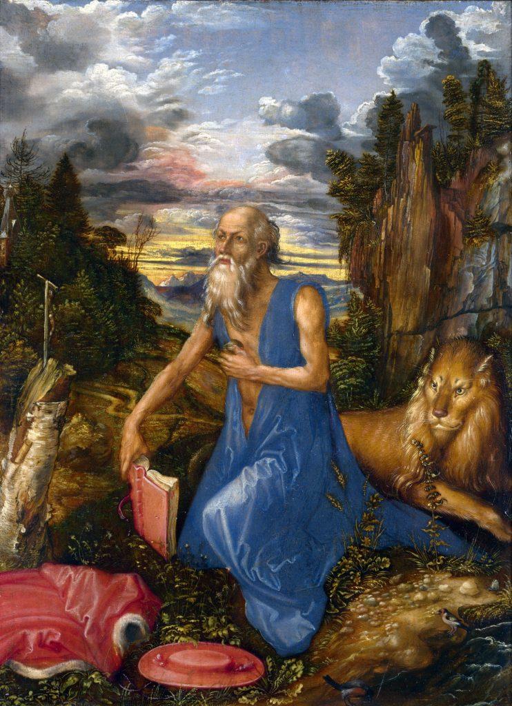 """""""Thánh Jerome ở nơi hoang dã"""" (St. Jerome in the Wilderness, sơn dầu trên gỗ lê, 23 x 17 cm) được Dürer vẽ năm 1496."""