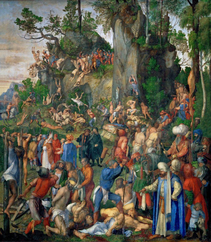 """Bức """"Tử vì đạo"""" (Martyrdom of ten thousand Christians, sơn dầu, 99 x 87 cm) được Albrecht Dürer vẽ năm 1508."""