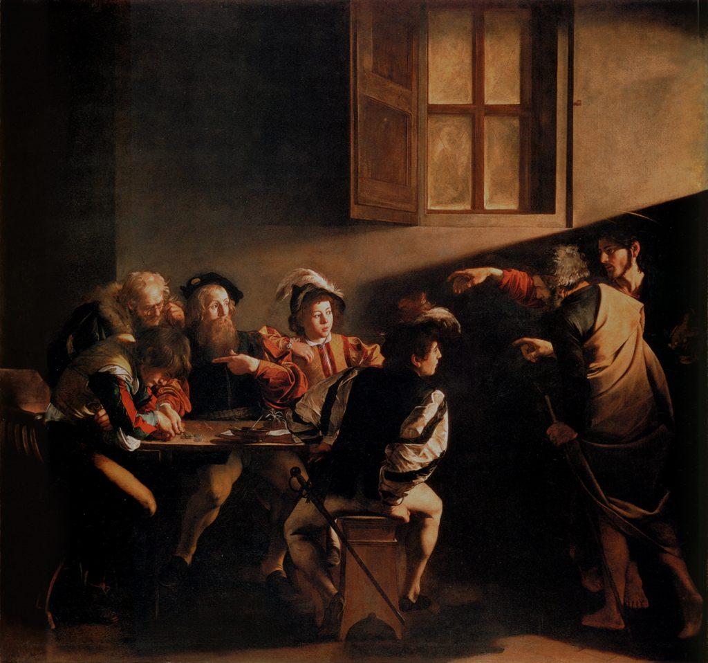 """Bức """"Tiếng gọi của thánh Matthew"""" (The Calling of Saint Matthew) được Caravaggio vẽ khoảng năm 1599-1600."""