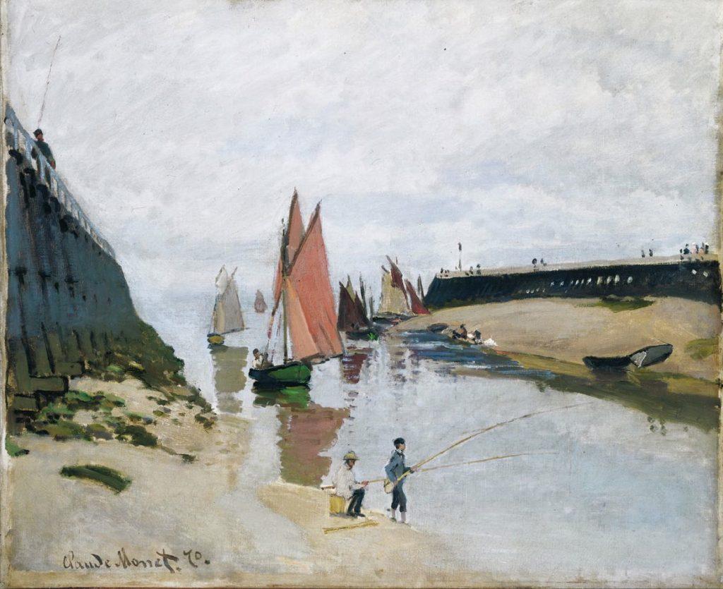 """Bức """"Breakwater at Trouville, Low Tide"""", sơn dầu, 54 x 66 cm được Claude Monet vẽ năm 1870."""