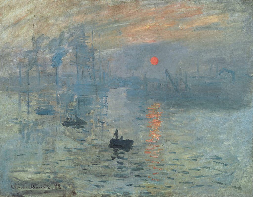 """Tên bức tranh """"Ấn tượng mặt trời mọc"""" (Impression, Sunrise, sơn dầu, 48 x 63 cm) do Claude Monet vẽ năm 1872 được dùng để đặt cho trường phái hội họa Ấn tượng."""