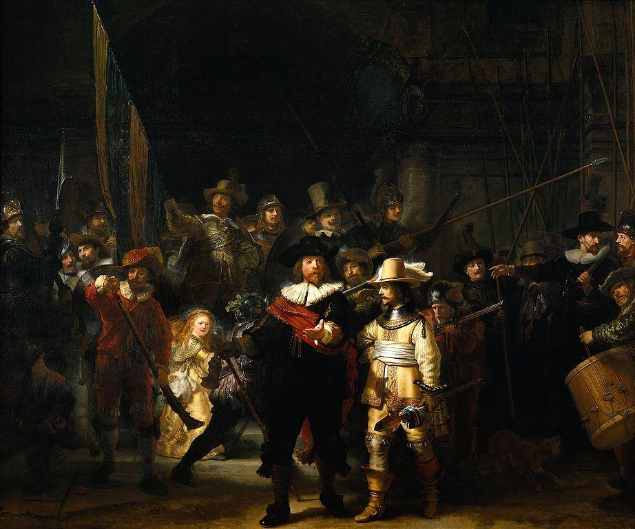 """Bức """"Hội Tuần đêm"""" (The Nightwatch, sơn dầu, 363x 437 cm) được vẽ năm 1642 là một ví dụ rõ rệt nhất cho khả năng vận dụng ánh sáng bậc thầy của Rembrandt."""