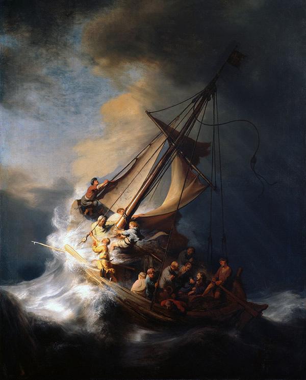 """Bức """"Chúa trong cơn bão ở hồ Galilee (The Storm on the Sea of Galilee, sơn dầu, 160 x 128 cm) là tác phẩm duy nhất về biển của Rembrandt. Hiện thất lạc sau vụ trộm ở viện bảo tàng Isabella Steward Gardner (Boston, Mỹ) năm 1990."""