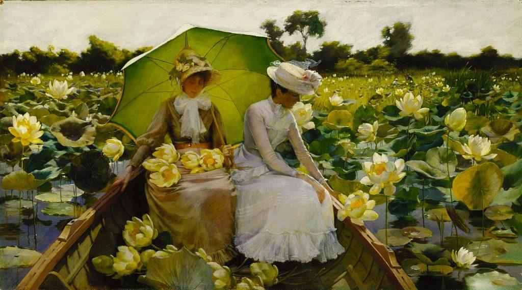 """Nếu có chụp phụ nữ với sen, chí ít hãy chụp như này. Bức """"Lotus Lilies"""" được danh họa người Mỹ Charles Courtney Curran (1861 – 1942) vẽ năm 1888."""