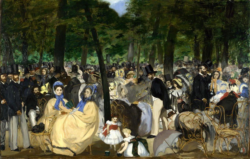 """Bức """"Music in the Tuileries"""" được Édouard Manet vẽ năm 1862 (tranh sơn dầu, 76x118cm). Đây cũng là một trong những tác phẩm đầu tiên của Manet về cuộc sống hiện đại ở thành thị Paris."""