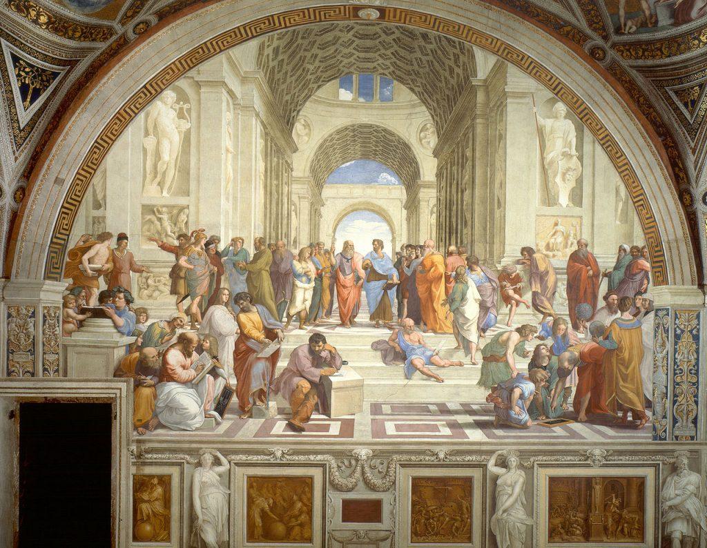"Tác phẩm nổi tiếng nhất của Raphael ""The School of Athens"" (tranh tường Fresco, 1511). Rất nhiều triết gia và nghệ sĩ nổi tiếng có mặt trong bức bích họa này như Plato, Aristotle, Zeno, Epicurus, Averroes, Pythagoras, Alcibiades, Xenophon, Aeschines, Parmenides, Socrates, Heraclitus, Diogenes, Euclid, Zoroaster, Ptolemy. Michelangelo Buonarroti (trong vai Heraclitus), Leonardo da Vinci (trong vai Plato), Donato Bramante (as Euclid), Raphael, Sodoma."