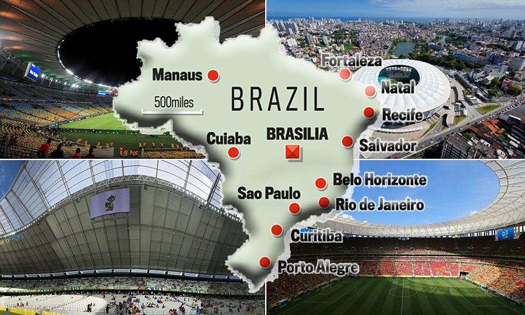 12 Sân vận động, trong đó có 7 sân được xây mới và 5 sân được nâng cấp để phục vụ World Cup 2014. Các sân được xây mới bao gồm: Estadio Mane Garrincha (Brasilia, 72888 chỗ, kinh phí 900 triệu $), Arena Corinthians (Sao Paulo, 68000 chỗ, kinh phí 412 triệu $), Arena Fonte Nova (Salvador, 51708 chỗ, kinh phí 265 triệu $), Arena Cidade da Copa (Recife, 46000 chỗ, kinh phí 224 triệu $), Arena da Amazônia (Manaus, 46000 chỗ, kinh phí 300 triệu $), Arena das Dunas (Natal, 45000 chỗ, kinh phí 200 triệu $), Arena Pantanal (Cuiaba, 42000 chỗ, 240 triệu $).