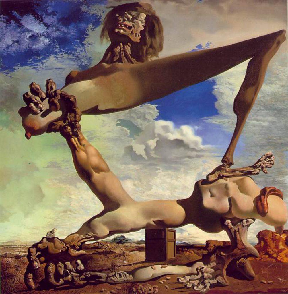 """""""Soft Construction with Boiled Beans"""" được Dali vẽ năm 1936 (sơn dầu, 100x99cm) để mô tả tính chất khốc liệt và tự hủy diệt của cuộc nội chiến Tây Ban Nha (1936-1939)"""