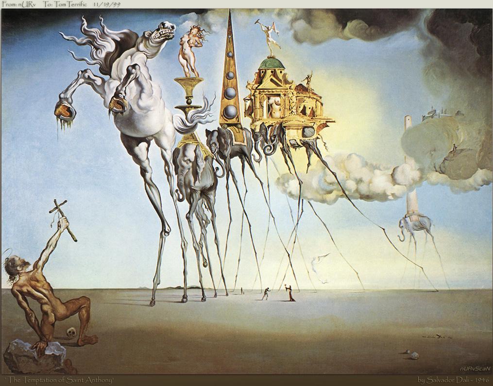 """""""The Temptation of St. Anthony"""" được Salvador Dali vẽ năm 1946."""