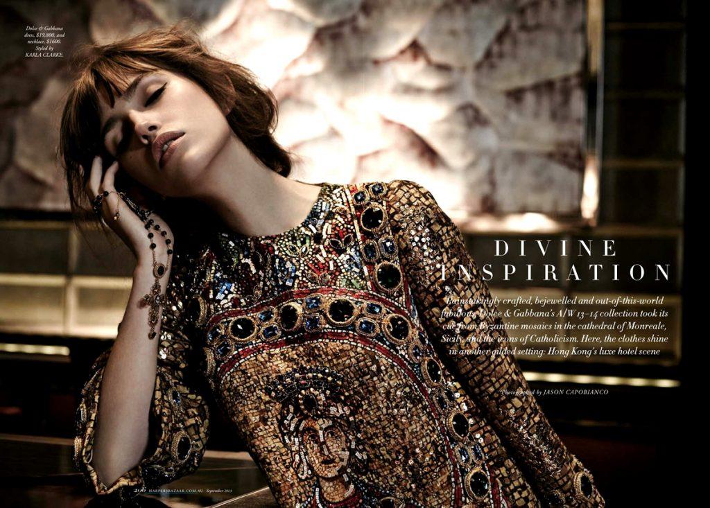 Harper's Bazaar Australia số tháng Chín, 2013. Người mẫu: Gabby Dover. Stylist: Karla Clarke. Nhiếp ảnh gia: Jason Capobianco. Thiết kế thời trang: Dolce & Gabbana.