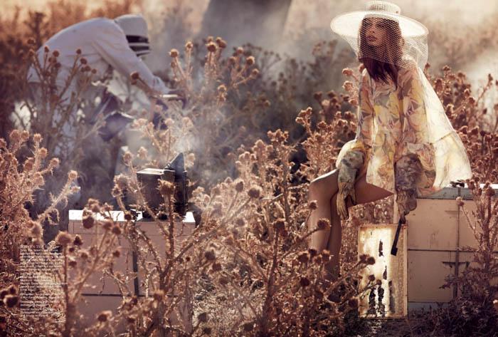 """Nuôi ong cũng có thể lãng mạn như này đây. Nhiếp ảnh gia: Will Davidson. Người mẫu: Cassi van den Dungen. Styling: Jillian Davidson. Vogue Australia số tháng Tư, 2013. Trọn bộ editorial """"The Sweetest Thing"""" ở đây."""