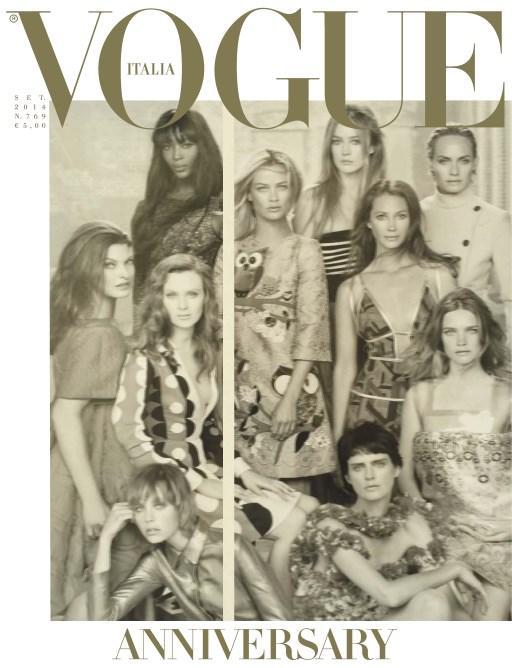 Những gì tốt đẹp nhất luôn được để dành đến cuối. Trong các phiên bản Vogue thì tôi luôn thích Vogue Italia nhất vì cá tính độc đáo của nó. Và số bìa tháng Chín năm nay cũng không phải nghoại lệ, để kỷ niệm 50 năm thành lập, 50 người mẫu đã đứng trước ống kính của nhiếp ảnh gia huyền thoại Steven Meisel.