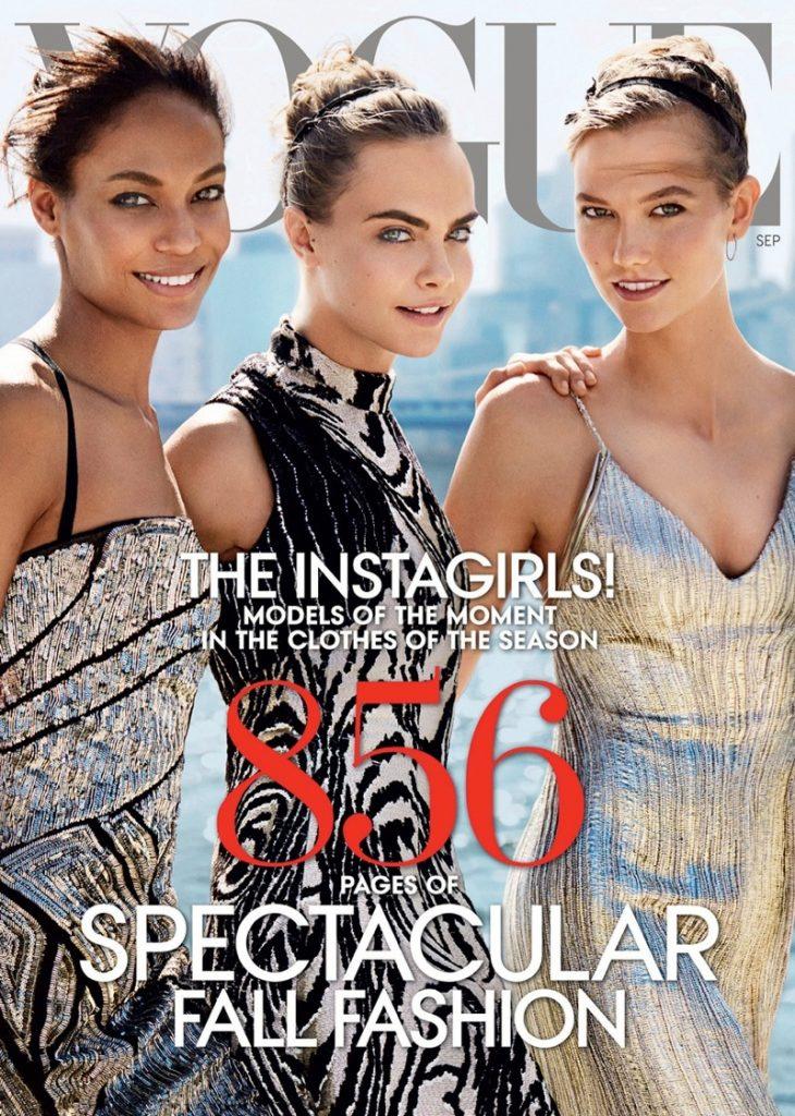Vogue US số tháng Chín năm nay dày 856 trang và bìa thay vì một ngôi sao thì chúng ta có tới ba kiều nữ cùng hiện diện: Joan Smalls, Cara Delevingne và Karlie Kloss. Nhưng vẫn chưa hết, hãy cùng tôi kéo xuống bức ảnh tiếp theo để đón chờ sự bất ngờ.