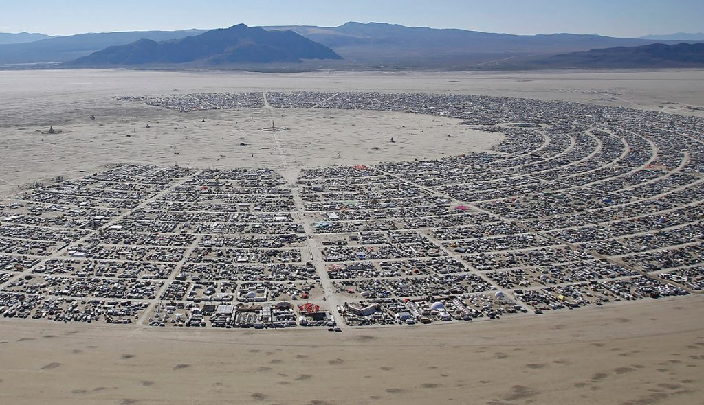 An aerial view of the Burning Man 2014 Caravansary arts and music festival in the Black Rock Desert of Nevada(Jim Urquhart Reuters)