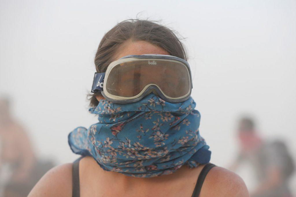 Grayson Morris navigates a dust storm. Attendees have to be prepared for life in a desert