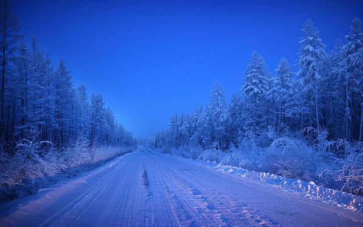 40% diện tích của Yakutia bị bao phủ bởi lớp băng vĩnh cửu không bao giờ tan, 47% là rừng Taiga với chủ yếu là các rừng thông rụng lá. Ảnh: Amos Chapple