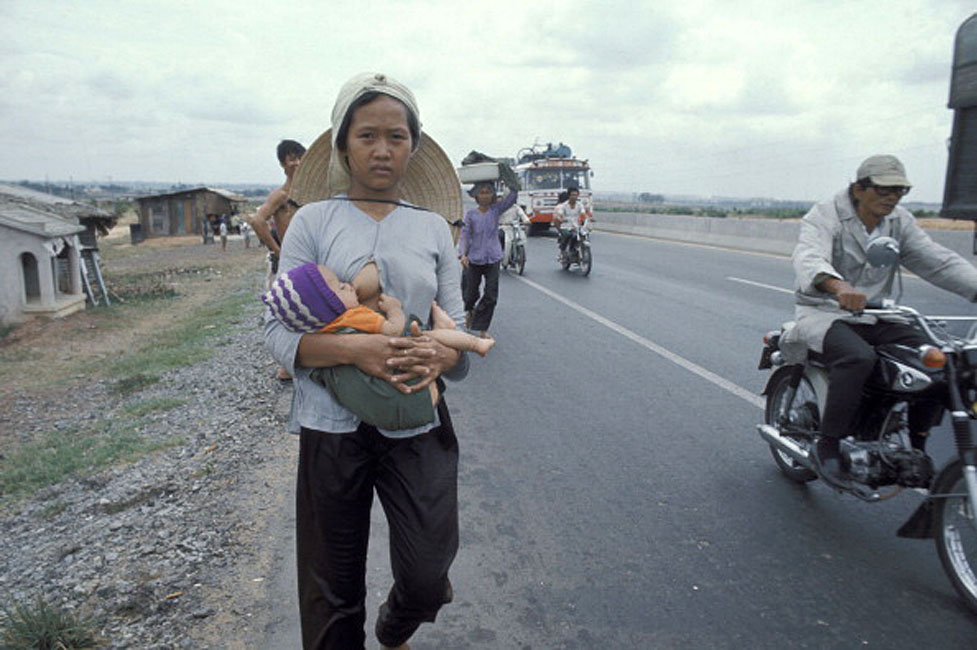 The Fall of Saigon, Vietnam in April, 1975-Exodus. (Photo by Jean-Claude LABBE/Gamma-Rapho via Getty Images)