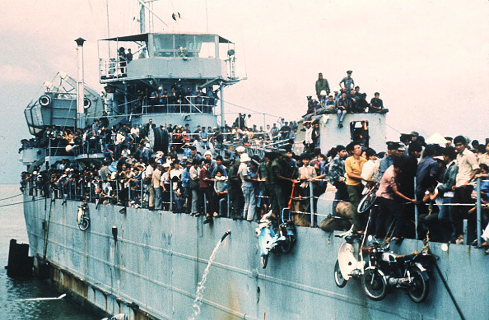 Jam-packed with more than 7,000 refugees, the South Vietnamese Navy ship HQ-504 arrives at Vung Tau port, the South Vietnam' s most popular sea resort, and now the only port city in the Government hands. More than 20,000 Vietnamese refugees including those from Hue and Danang arrived at Vung Tau from Cam Ranh Bay, on board the Navy ships. The cease fire agreement was signed during the international peace conference on Vietnam the 02 March 1973 in Paris. (Photo credit should read STAFF/AFP/Getty Images)