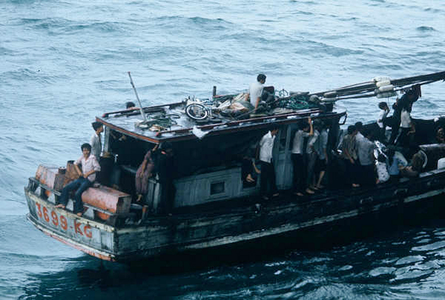 Fall of Saigon 1975 - USS Midway - Vietnamese refugees - Mike Baxter Collection