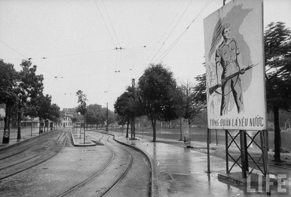 Bến xe điện Bờ Hồ. Hà Nội 1954.