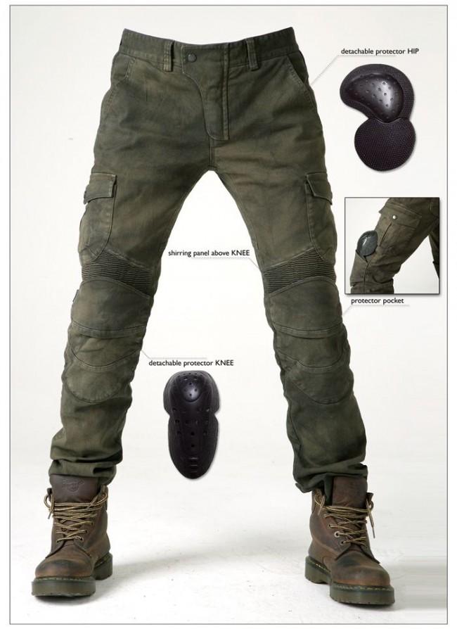 Một mẫu biker jeans điển hình với bộ đệm bảo vệ ở đầu gối và hông.