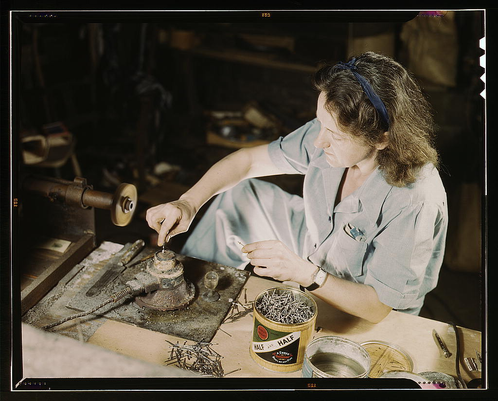 Hollem, Howard R.,, photographer.   Transfusion donor bottles, Baxter Lab., Glenview, Ill. Formerly a sculptress and designer of tiles, Dorothy Cole converted her basement into a workshop to tin plate needles for valves for blood transfusion bottles prepared by Baxter Laboratories where she lives. She turns in her profits to war bonds to provide a college education for her young nephew   1942 Oct.