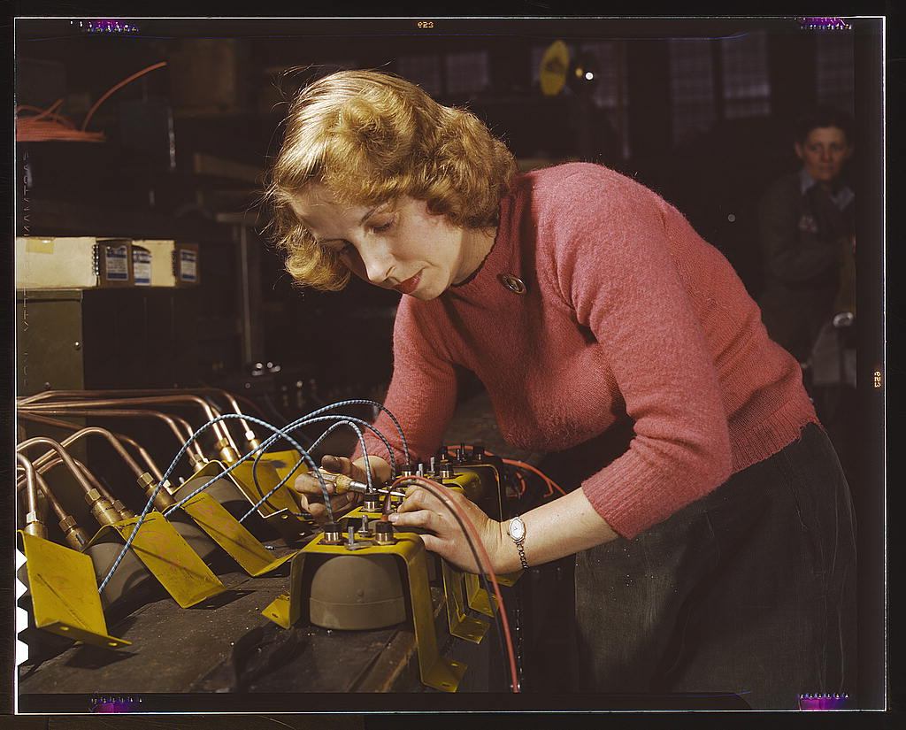 Hollem, Howard R.,, photographer.   Lucile Mazurek, age 29, ex-housewife, husband going into the service. Working on black-out lamps to be used on the gasoline trailers in the Air Force, Heil and Co., Milwaukee, Wisconsin   1943 Feb.