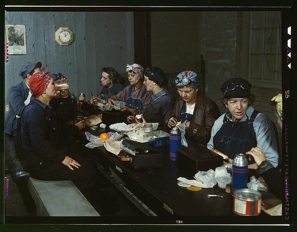 Delano, Jack,, photographer.   Women workers employed as wipers in the roundhouse having lunch in their rest room, C. & N.W. R.R., Clinton, Iowa   1943 April