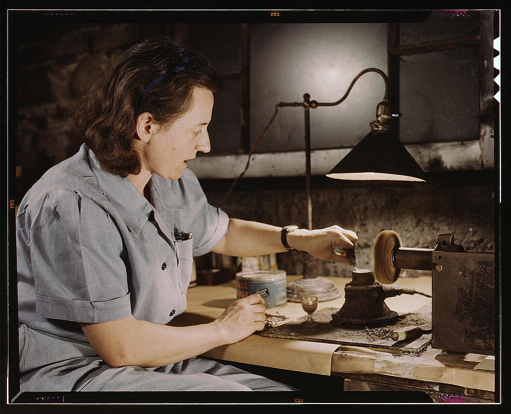 Hollem, Howard R.,, photographer.   Formerly a sculptress and designer of tiles, Dorothy Cole converted her basement into a workshop to tin plate needles for valves for blood transfusion bottles prepared by Baxter Laboratories where she lives, Glenview, Ill. She turns in her profits to war bonds to provide a college education for her young nephew   1942 Oct.