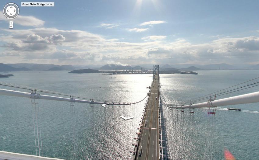 Đôi khi Google Street View mang lại một góc nhìn mà bình thường ta không thể có như từ trên nóc cầu lớn Seto ở Nhật Bản. Ngày 10/4/1988, cầu lớn Seto Naikai - công trình lớn nhất đất nước mặt trời mọc lúc bấy giờ - được thông xe, nối liền 4 đảo bằng duy nhất một đường sắt.