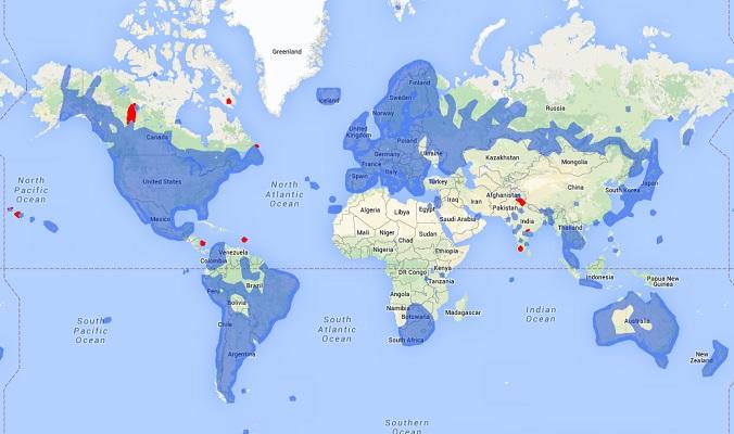 Bản đồ phủ sóng Google Street View vào tháng Hai, 2015.