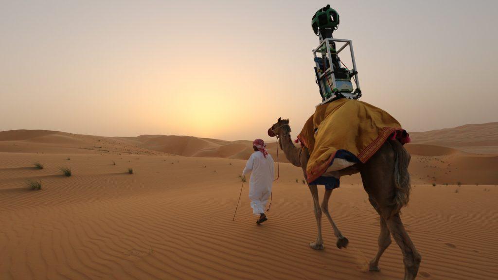 Chú lạc đà 10 tuổi Raffia được Google tuyển dụng để chụp ảnh sa mạc Liwa (cách Abu Dabi 125 dặm)