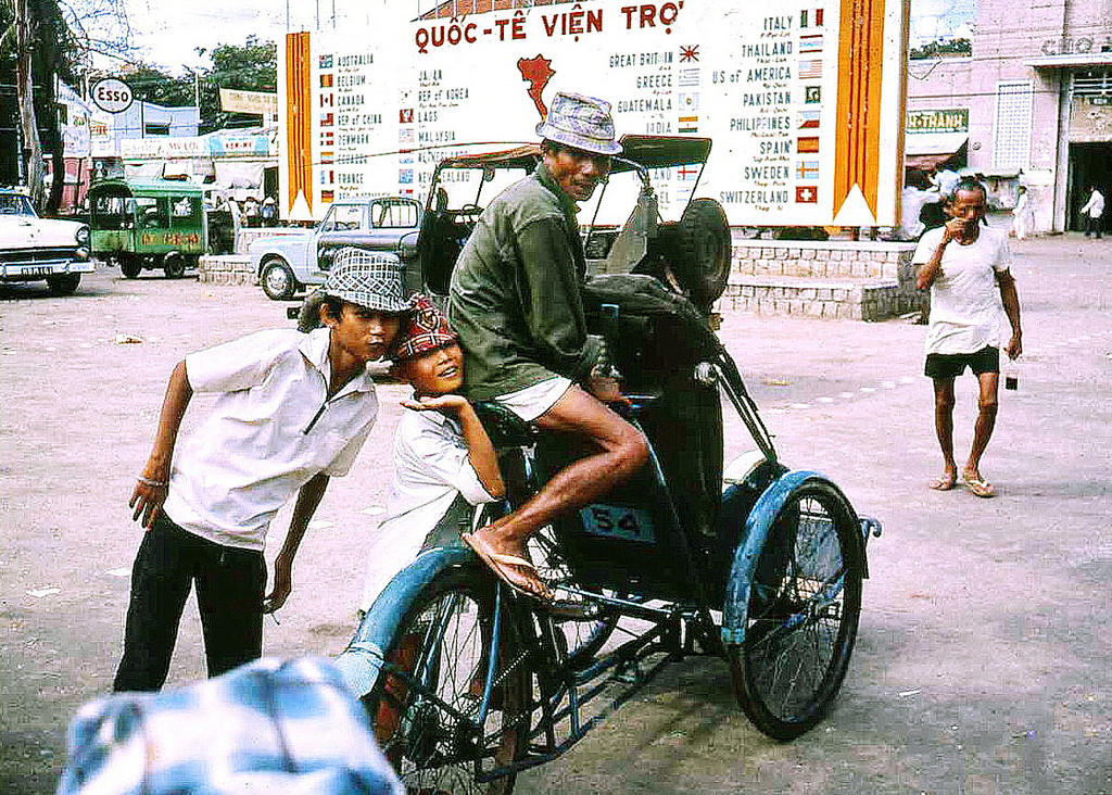Cyclo Taxi at the Flags in Vung Tau 1967 - Photo by Bruce Tremellen