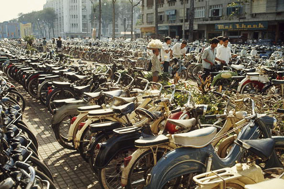 SAIGON 1965 - Photo by Wilbur E. Garrett VIETNAM - MARCH 01: Rows of bicycles clutter a downtown parking area, Saigon, South Vietnam (Photo by Wilbur E. Garrett/National Geographic/Getty Images)