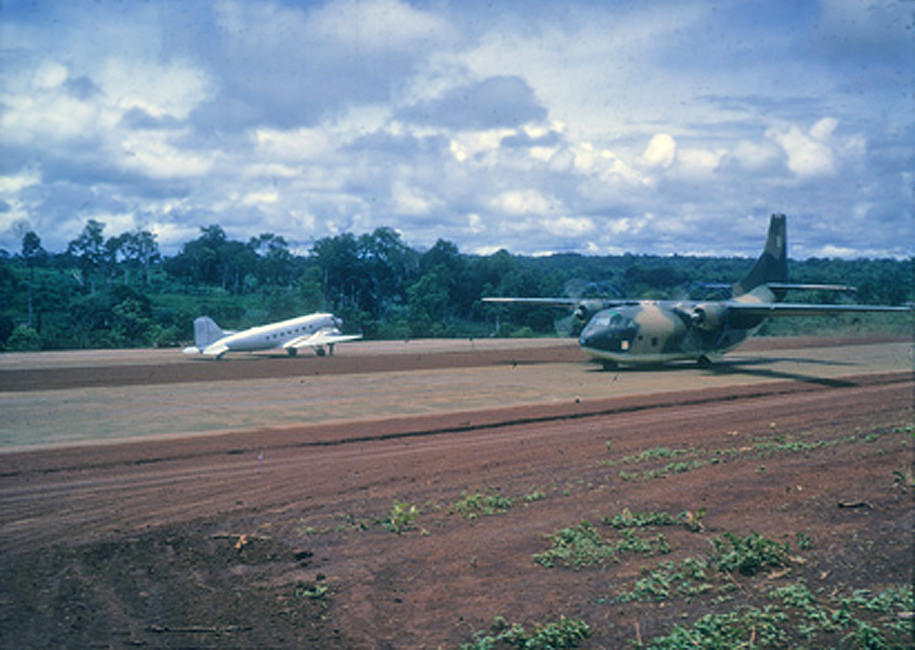 Vietnam 1966 - Airstrip constructed in a few days. C-123, AC-47 Jerry R. Brooks Collection -