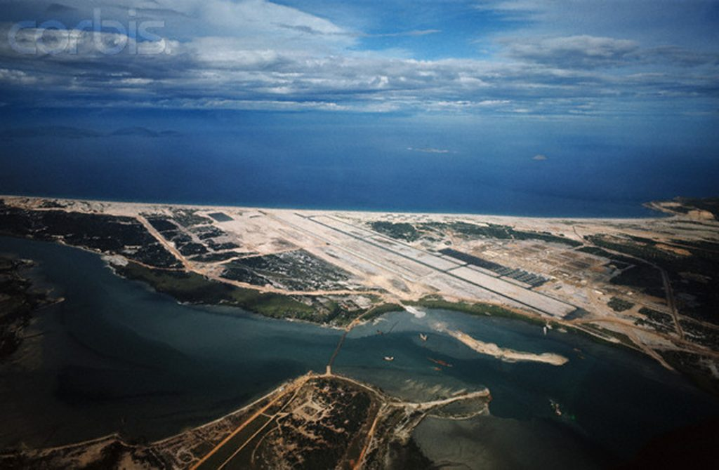 08 Sep 1966, Cam Ranh Bay, South Vietnam --- Aerial view of massive U.S. Military Base, September 8th. --- Image by © Bettmann/CORBIS
