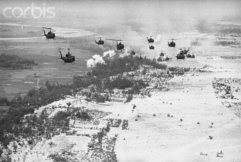 06 Nov 1967, Chu Lai, South Vietnam --- In the Air. Chu Lai, South Vietnam: In the war in Vietnam, one very common means of mobility is the helicopter. Here, men are moved to forward lines via the all-purpose choppers. --- Image by © Bettmann/CORBIS