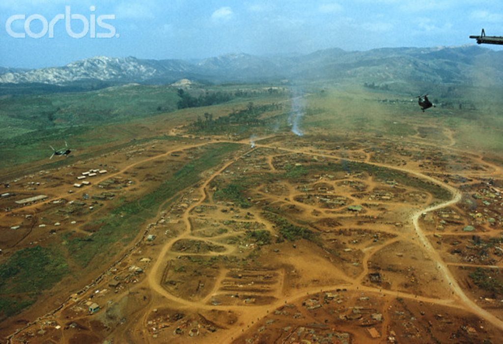 29 Feb 1968, Khe Sanh, South Vietnam --- Aerial view of the entrenched camp of Khe Sanh. --- Image by © Christian Simonpietri/Sygma/Corbis
