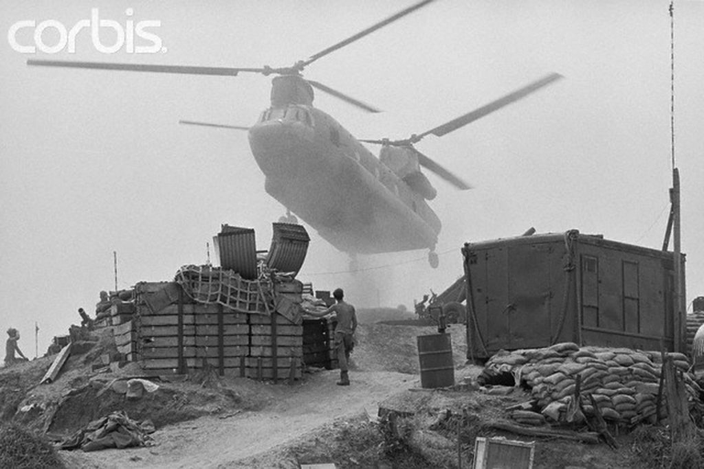 01 May 1971, South Vietnam --- Bringing in Supplies. Fire Supply Base Gladiator, South Vietnam: Looking like a creature form outer space, a giant chinook