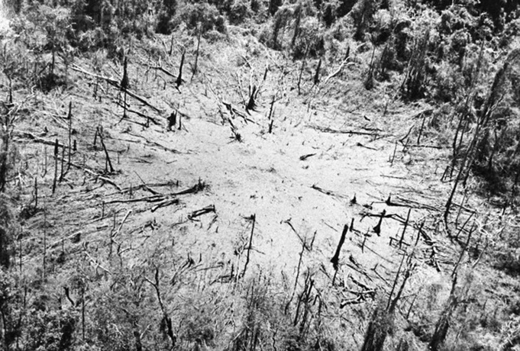 06 Mar 1971, Near Muang Xepon, Laos --- 3/6/1971-Saigon, Vietnam: A helicopter landing zone is cleared from what used to be heavy Vietnam jungle, by a 15,000 pound bomb of the same type used 3/5 to clear landing zones near Sepone, Laos. The bomb (Daisy Cutter) dropped by a C-130 cargo plane, detonates above-ground to avoid making a crater. --- Image by © Bettmann/CORBIS