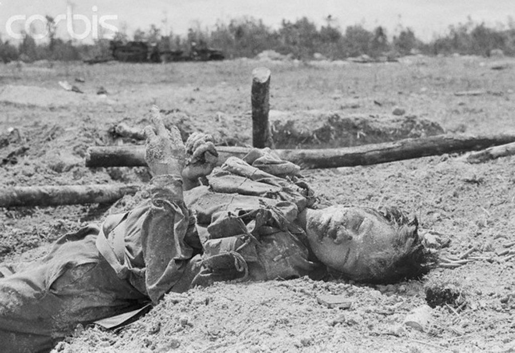13 May 1972, An Loc, Vietnam --- A dead North Vietnamese soldier, killed during battle. --- Image by © Henri Bureau/Sygma/Corbis