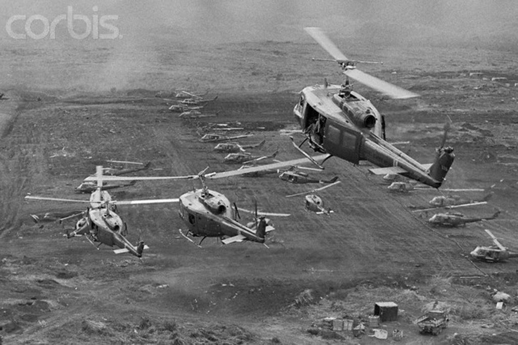 09 Feb 1971, Khe Sanh, South Vietnam --- Khe Sanh: Scores of US Army UH1 helicopters mass at the Khe Sanh ready to shuttle South Vietnamese paratroopers across the Xe Don River into Laos' panhandle. By day's end, there were 5,000 paratroopers and cavalrymen inside Laos. --- Image by © Bettmann/CORBIS