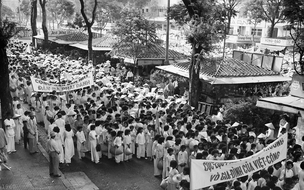 Saigon 1960 - Crowd Watching the Women's Day Observation and Parade