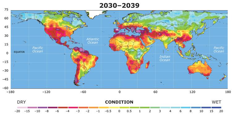"""2035-2040: Các quốc gia trên thế giới vật lộn với sự thiếu hụt tài nguyên và thay đổi của khí hậu. Đức, Pháp và các nước Bắc Âu tách ra thành nhóm """"Northern Union"""", trong khi các nước Địa Trung Hải như Ý, Tây Ban Nha... tràn ngập dân tị nạn từ Bắc Phi kéo qua. Nam Mỹ, Trung Mỹ, Ấn Độ, châu Phi, Đông Nam Á và cả  châu Âu chịu khô hạn nặng nề. Các nước được hưởng lợi khi băng tan, để lộ ra thêm đất đai mới là Nga, Canada và các nước Bắc Âu. Trong đó Nga lúc này trở thành cường quốc về thực phẩm nhờ kết hợp giữa công nghệ biến đổi gen với những ưu đãi của khí hậu."""
