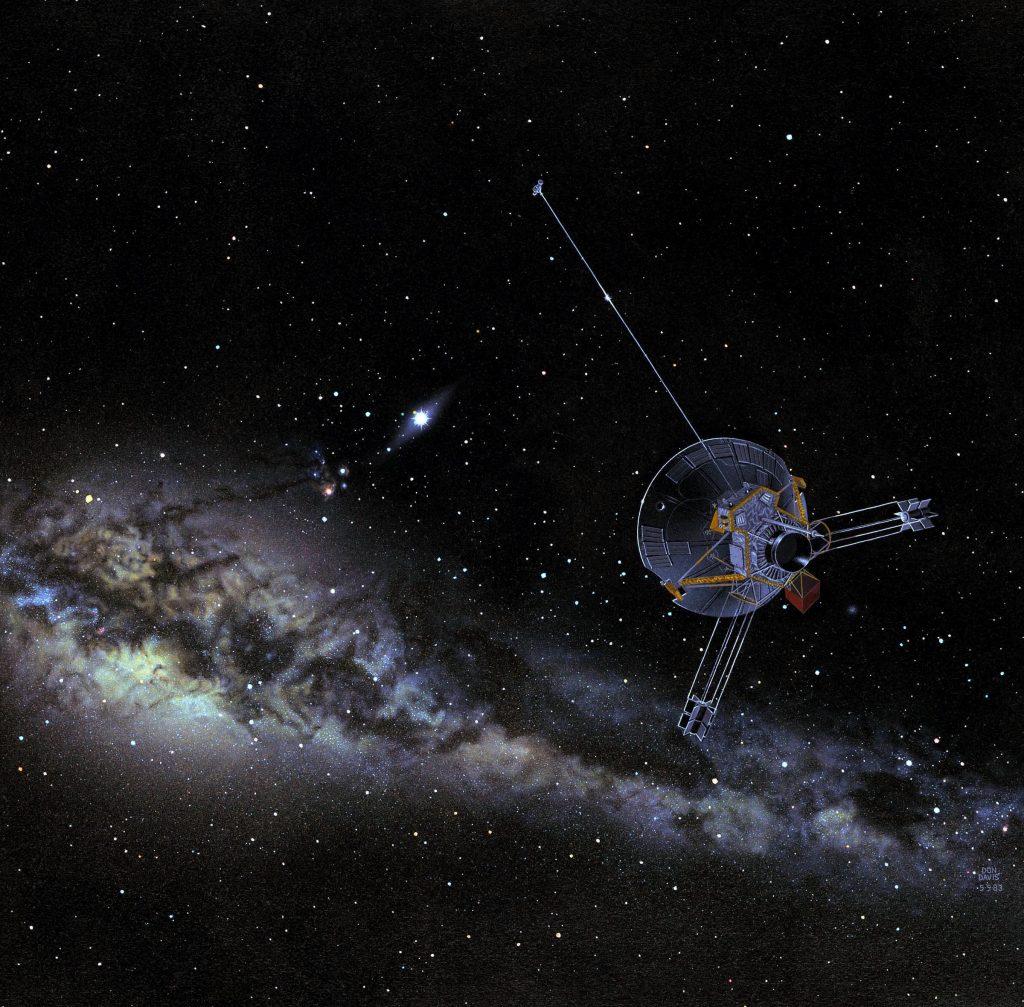 Hai triệu năm sau Công nguyên. Tàu Pioneer 10 tiếp cận sao Aldebaran, một ngôi sao khổng lồ lùn đỏ loại K5 màu cam. Nó phát sáng gấp khoảng 153 lần so với độ sáng của Mặt Trời. Tàu thăm dò Pioneer 10 (Người Mở Đường 10) được phóng ngày 03/03/1972 nhằm tham gia vào quá trình khám phá các hành tinh thuộc nhóm 2 của hệ Mặt Trời. Với khoảng cách 12h ánh sáng tới Trái Đất (gấp đôi khoảng cách từ sao Diêm Vương tới Mặt Trời), Pioneer 10 hiện đang nằm ở ranh giới giữa khu vực chịu ảnh hưởng của Mặt Trời và khoảng không bao la giữa các vì sao. Con tàu này bị đẩy khỏi lực hút của Mặt Trời và tiếp tục chuyển động ra phía ngoài với vận tốc khoảng 45.000 km/h. Tàu Pioneer 10 mang trên mình nhiều thành tích đáng nhớ: là con tàu đầu tiên của loài người vượt qua được vành đai tiểu hành tinh, là con tàu đầu tiên khám phá sao Mộc và đây cũng là lần đầu tiên con người biết sử dụng lực hấp dẫn của hành tinh để tăng tốc cho tàu thăm dò và để nó thoát khỏi sức hút của chính hệ Mặt Trời. Con tàu thăm dò nặng 258 kg này mang theo một ăngten parabol đường kính 2.74m, bốn máy phát điện nguyên tử với tổng công suất 165W, ba hệ thống tên lửa đẩy và một số camera, máy đo bức xạ khác. Mặc dù nằm cách rất xa Mặt Trời nhưng nhiệt độ trên con tàu này luôn được duy trì ở mức 23-38 độ C. Pioneer 10 cũng mang theo một tấm kim loại trong đó vẽ hình ảnh một người đàn ông, một người đàn bà và một bản đồ chỉ dẫn vị trí của Trái Đất trong Ngân Hà nhằm gửi đến cho một nền văn minh ngoài Trái Đất.