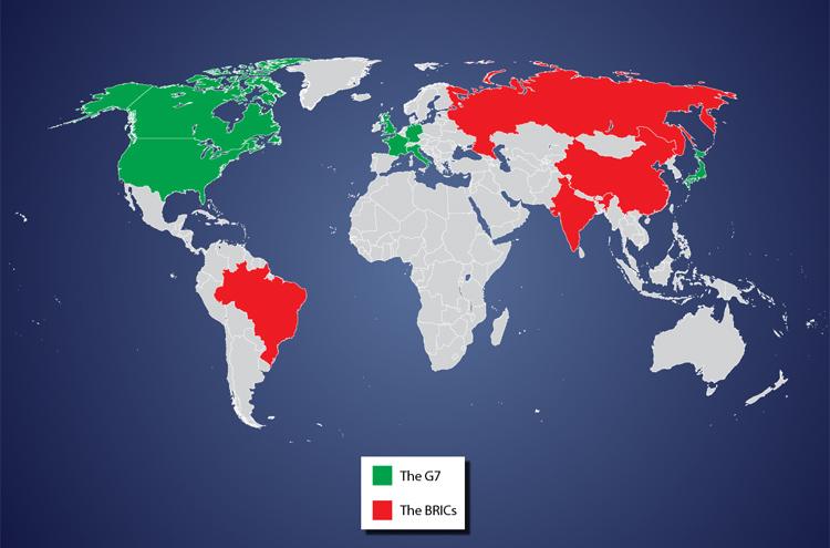 2027. GDP của nhóm BRIC (Brazil, Nga, Ấn Độ, Trung Quốc) vượt các nước G7 (Pháp, Đức, Ý, Nhật, Anh và Hoa Kỳ, Canada).