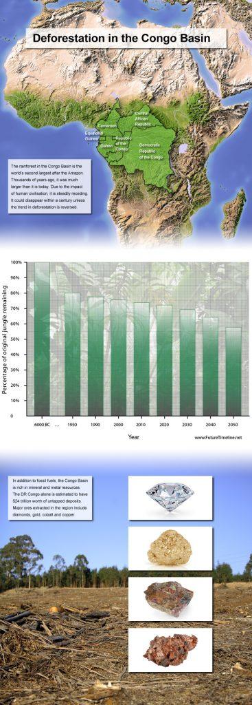 2040. Là rừng mưa nhiệt đới lớn thứ hai thế giới, chỉ sau rừng Amazon nhưng đến năm 2040, rừng mưa Congo sẽ chỉ còn rộng bằng 2/3 so với hiện nay, do tình trạng phá rừng, khai thác quặng và sự khắc nghiệt của khí hậu. Trải dài trên 6 quốc gia, nơi đây là nhà của hơn 10,000 loại thực vật (30% trong số đó không thể tìm thấy ở nơi nào khác trên Trái Đất), hơn 1000 loài chim, hơn 700 loài cá và 400 loài động vật có vú.